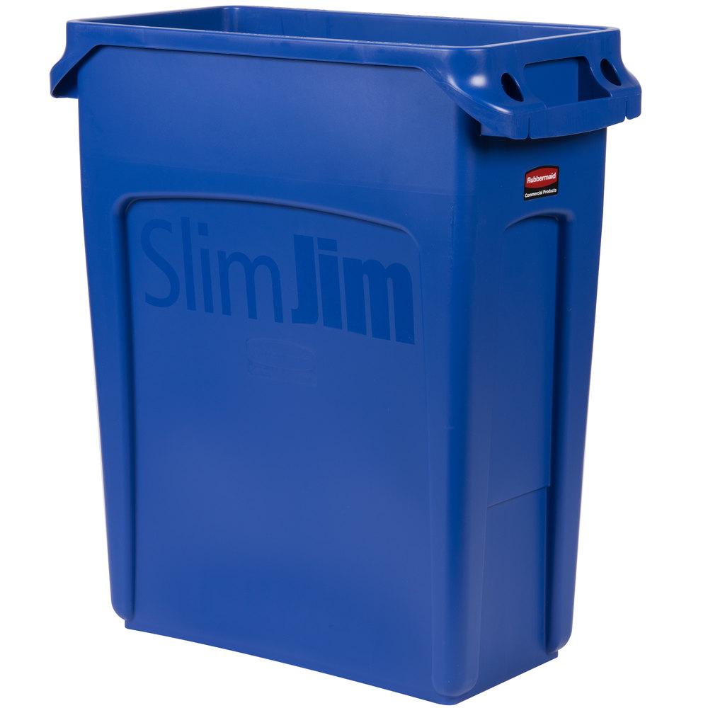 rubbermaid 1971257 slim jim 16 gallon blue trash can. Black Bedroom Furniture Sets. Home Design Ideas