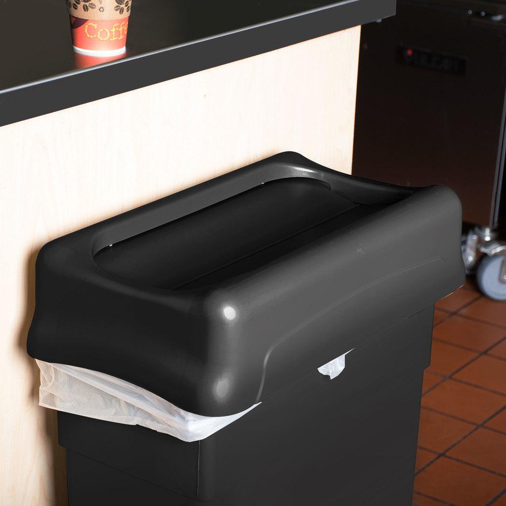 rubbermaid fg267360bla slim jim black swing wall hugger trash can lid. Black Bedroom Furniture Sets. Home Design Ideas