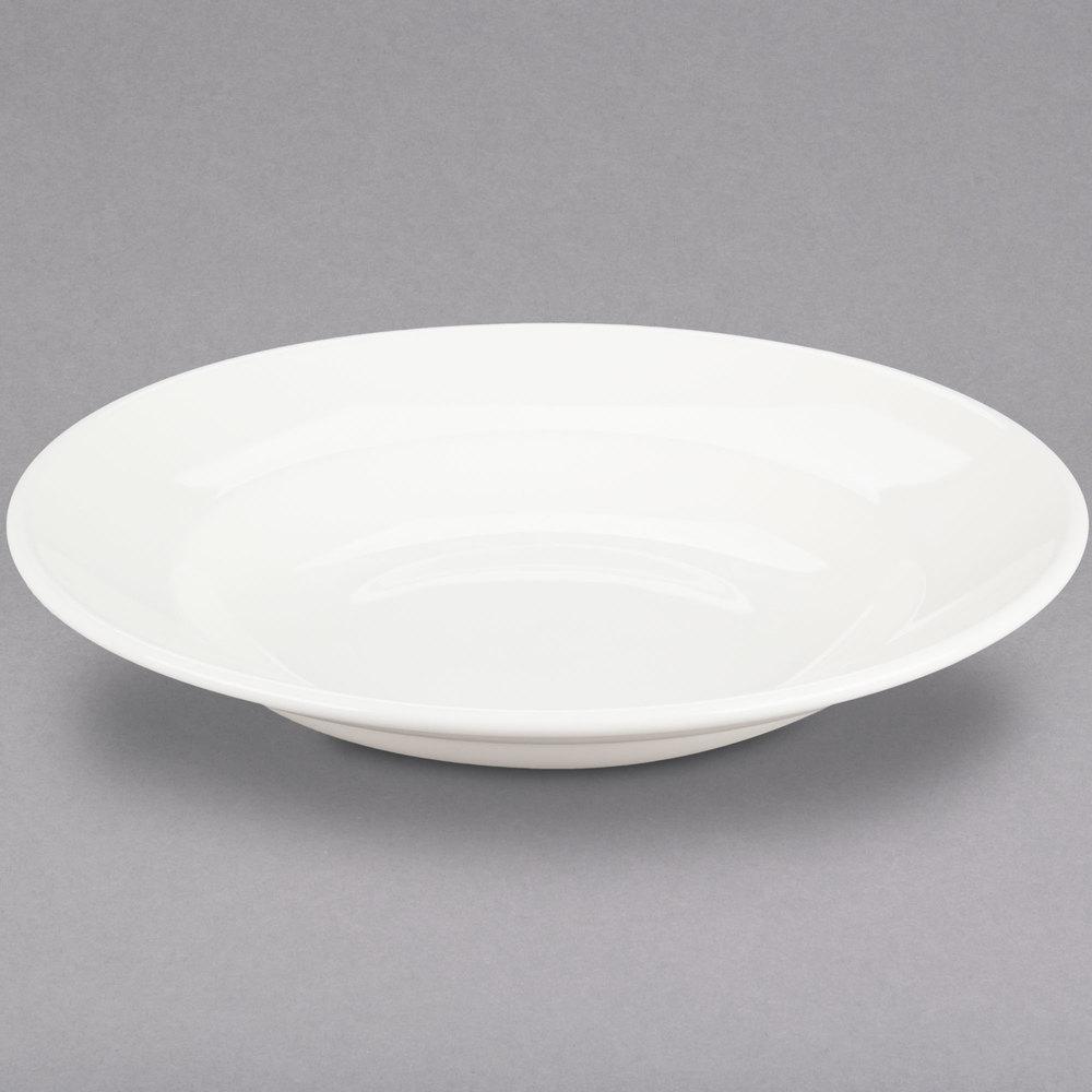 59ed2708831 Choice 24 oz. Ivory (American White) Wide Rim Rolled Edge China Pasta Bowl  ...