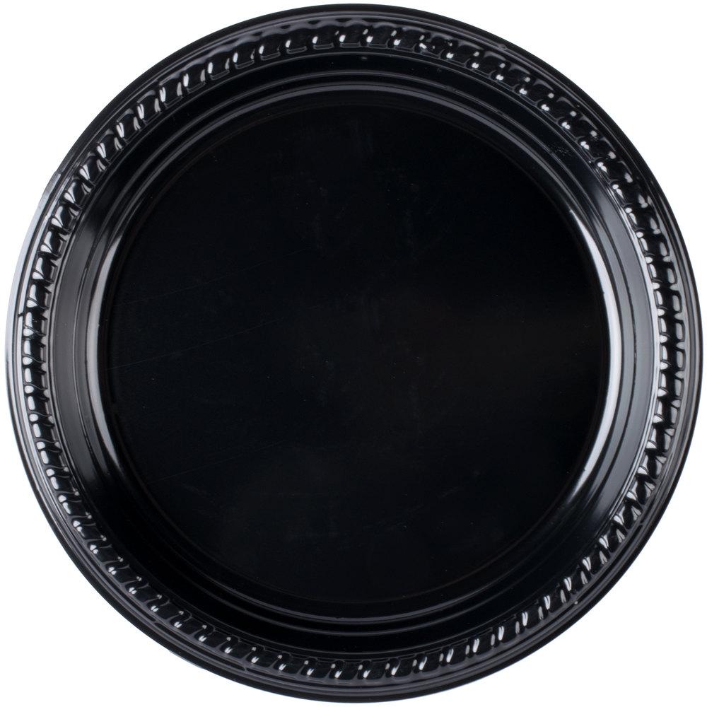 Dart Solo PS95E-0099 9 inch Black Premium Party Plastic Plate - 500/Case ...  sc 1 st  WebstaurantStore & Solo Plastic Plates Black - WebstaurantStore