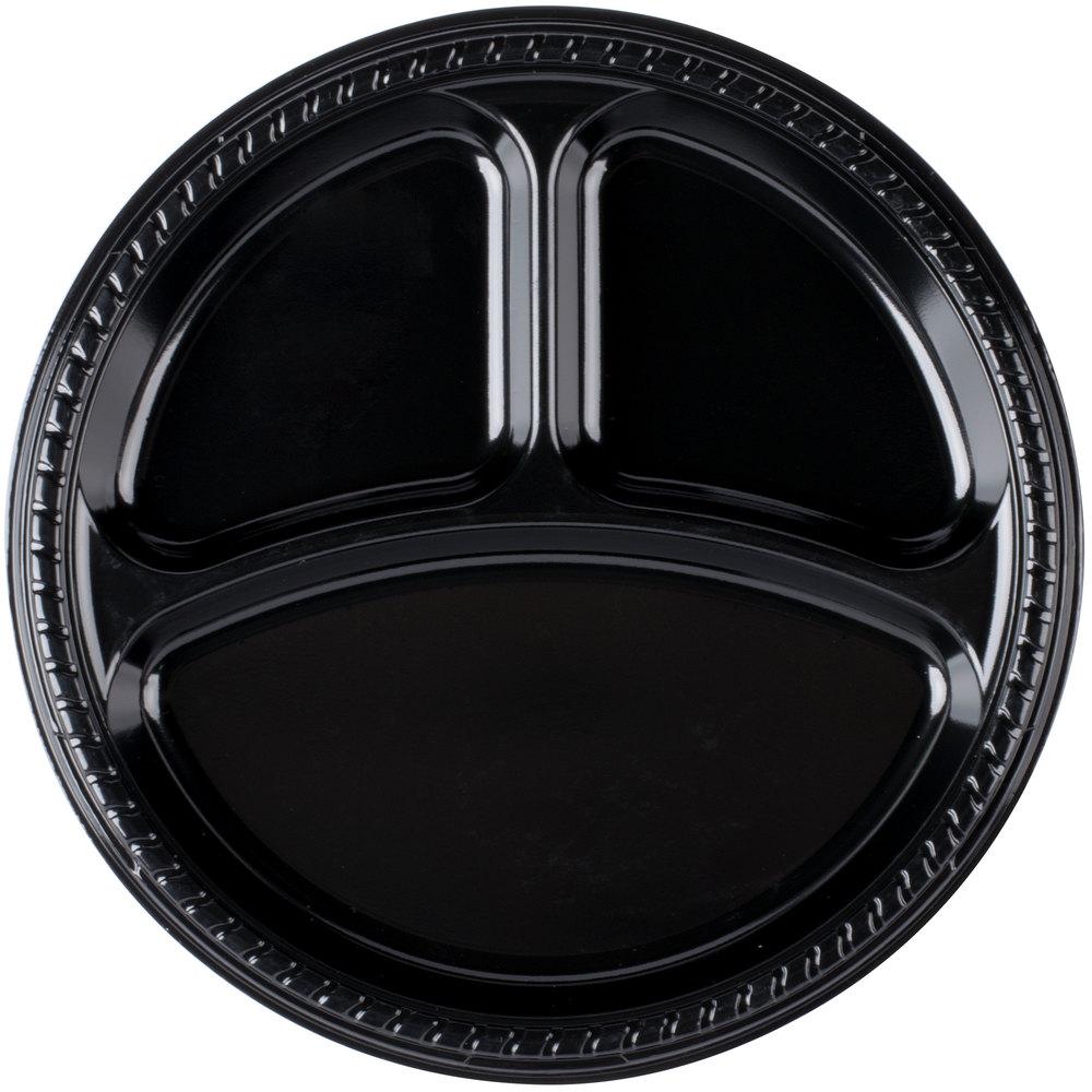 Dart Solo PS1CE-0099 10 1/4 inch 3-Compartment Black Premium Party ...  sc 1 st  WebstaurantStore & 3 Compartment Plastic Plates | Divided Plastic Plates