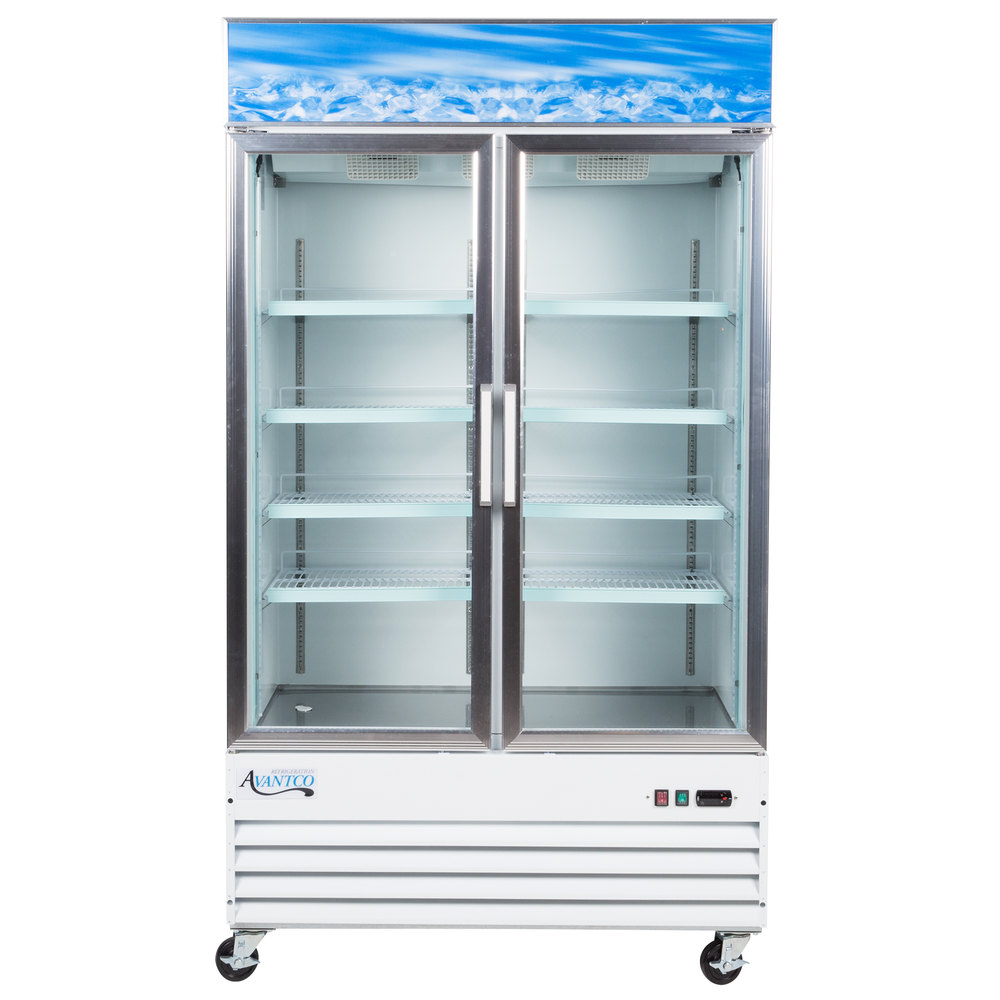 115 Volts Avantco Gdc 40 Hc 48 Inch White Swing Gl Door Merchandiser Refrigerator With Led
