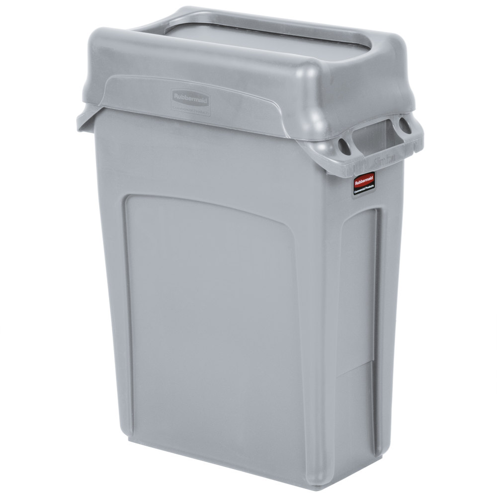 rubbermaid slim jim 16 gallon gray wall hugger trash can with gray swing lid. Black Bedroom Furniture Sets. Home Design Ideas