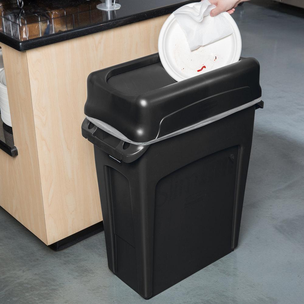 rubbermaid slim jim 16 gallon black trash can with black swing lid. Black Bedroom Furniture Sets. Home Design Ideas
