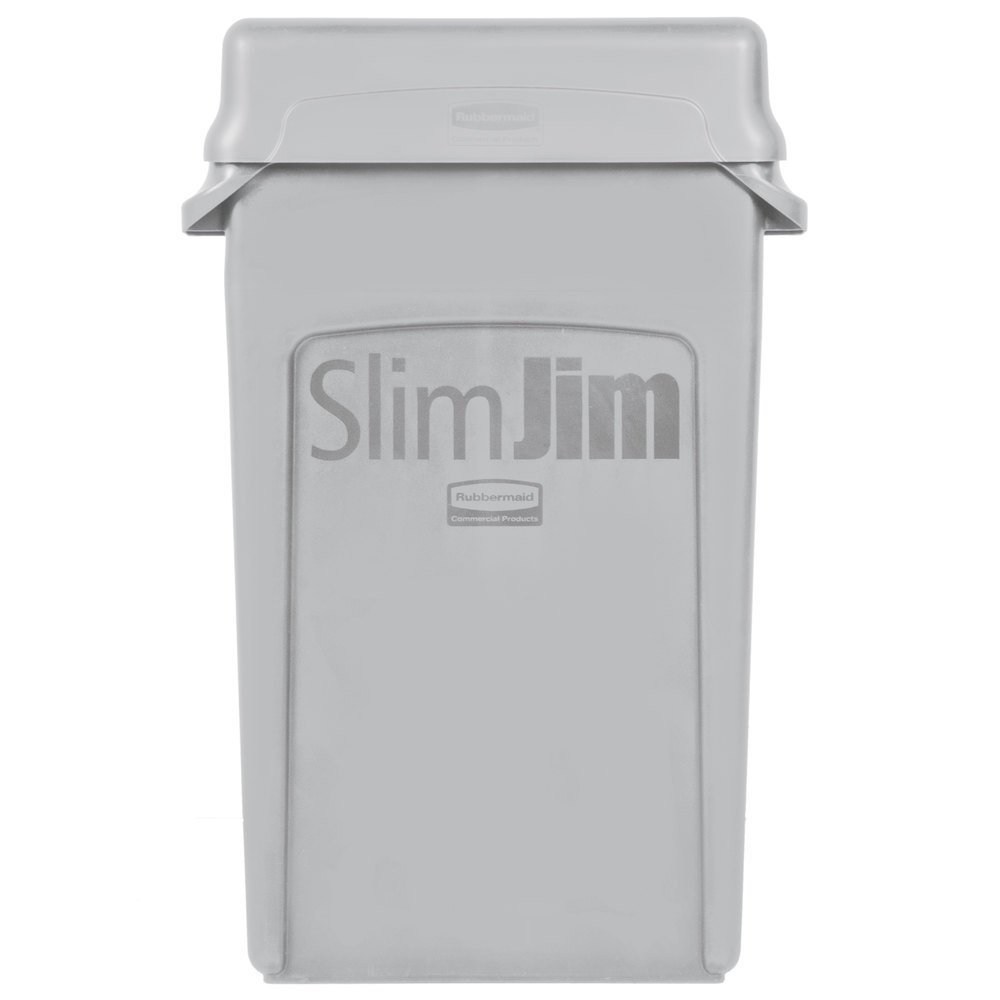 Trash Can With Gray Swing Lid Main Picture; Image Preview