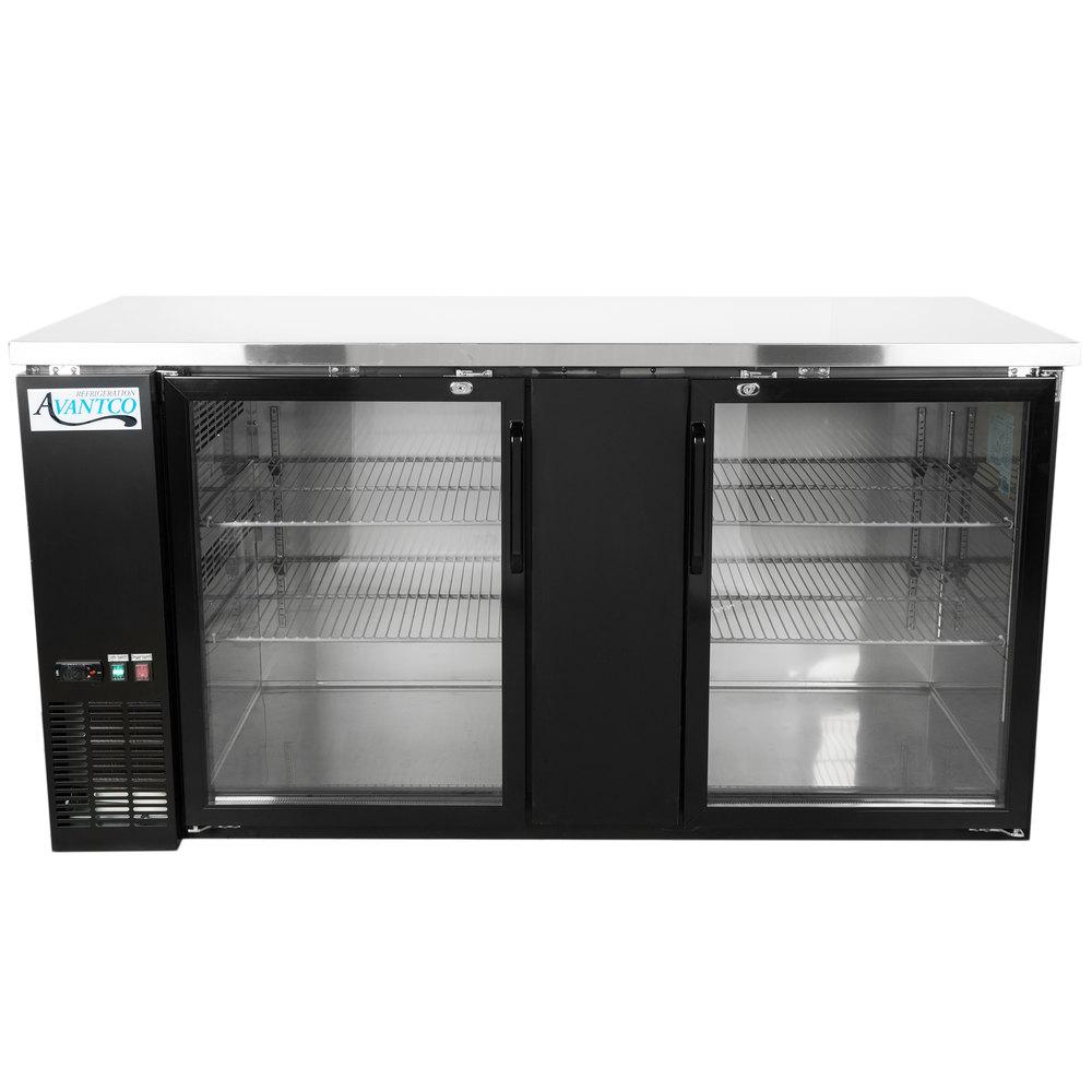 115 Volts Avantco Ubb 3g Hc 69 Inch Black Counter Height Glass Door Back Bar Refrigerator