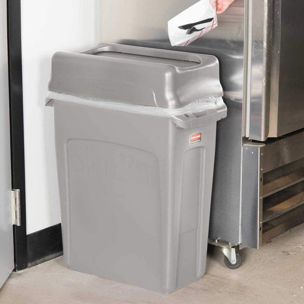rubbermaid slim jim 16 gallon beige trash can with beige swing lid. Black Bedroom Furniture Sets. Home Design Ideas
