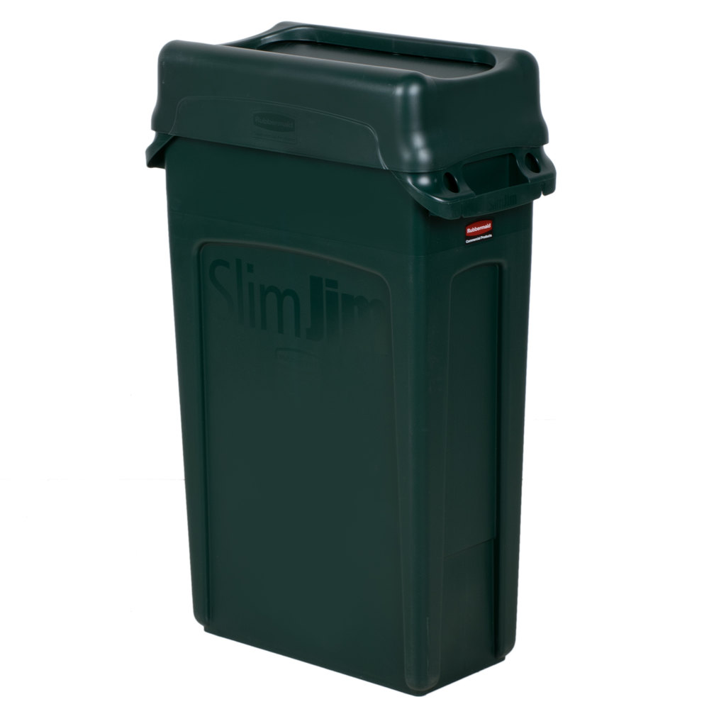 Trash Can With Green Swing Lid Main Picture; Image Preview; Image  Preview
