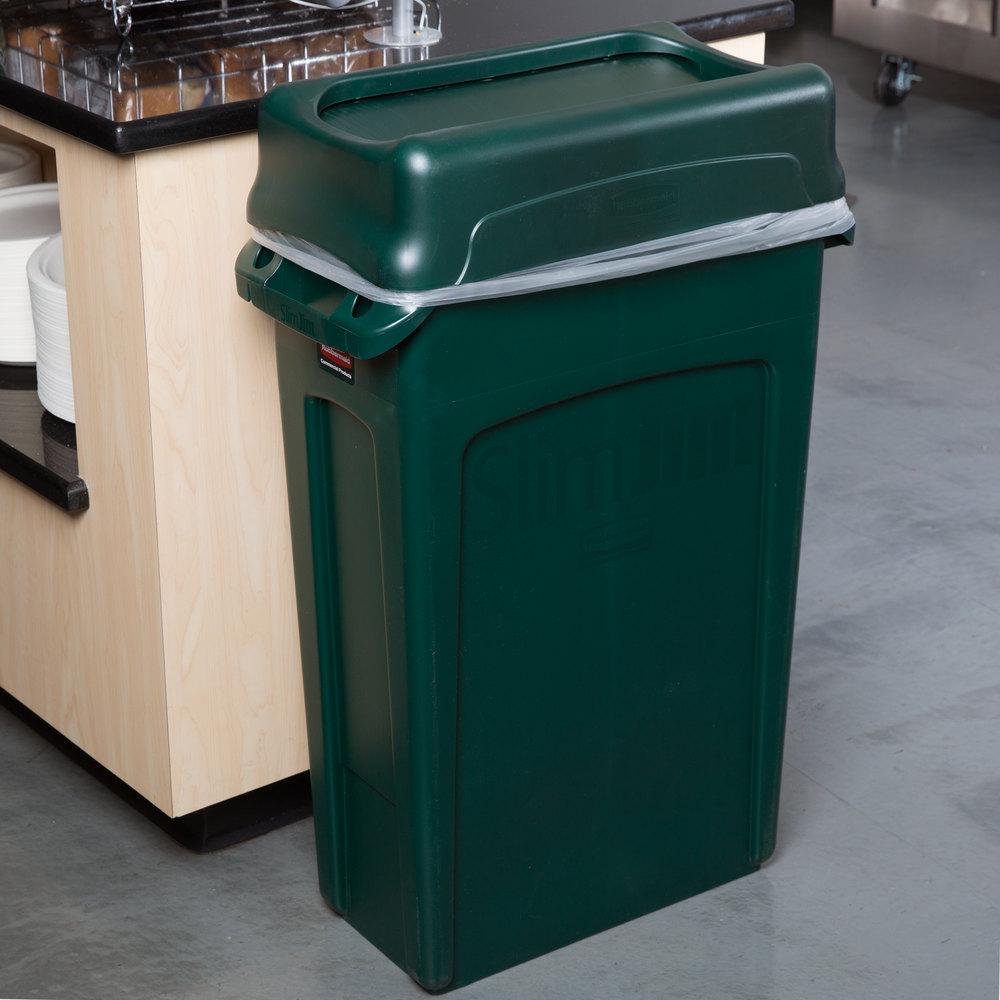 Rubbermaid Slim Jim 23 Gallon Green Trash Can With Green