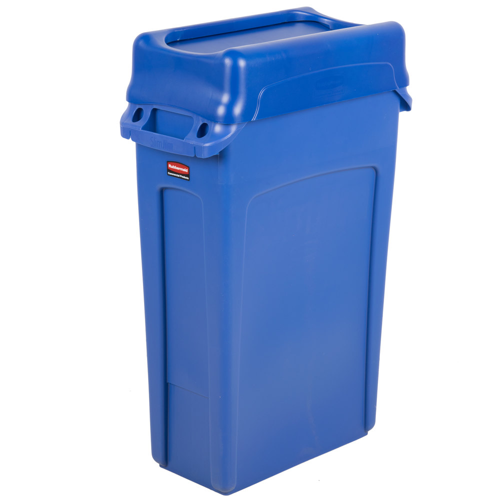 Trash Can With Blue Swing Lid Main Picture; Image Preview