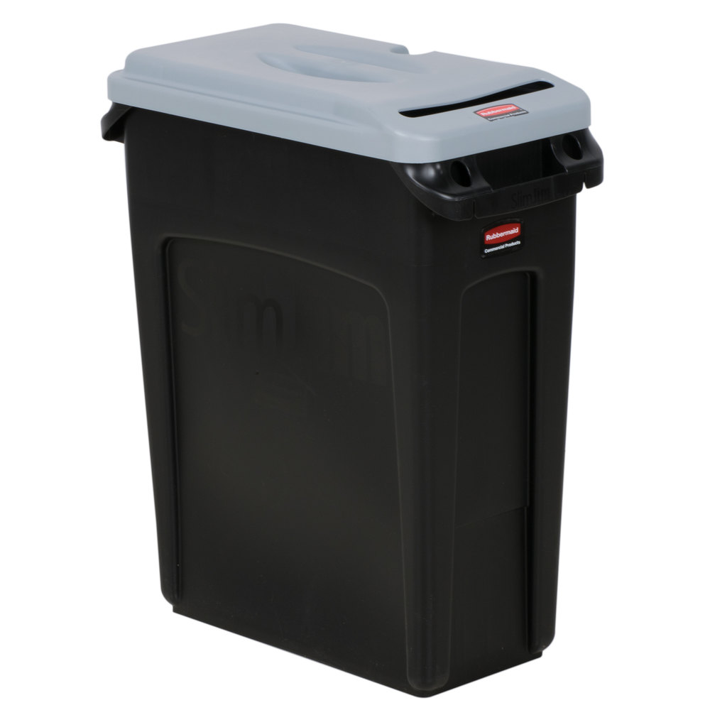 rubbermaid slim jim 16 gallon black trash can with light gray confidential document lid. Black Bedroom Furniture Sets. Home Design Ideas