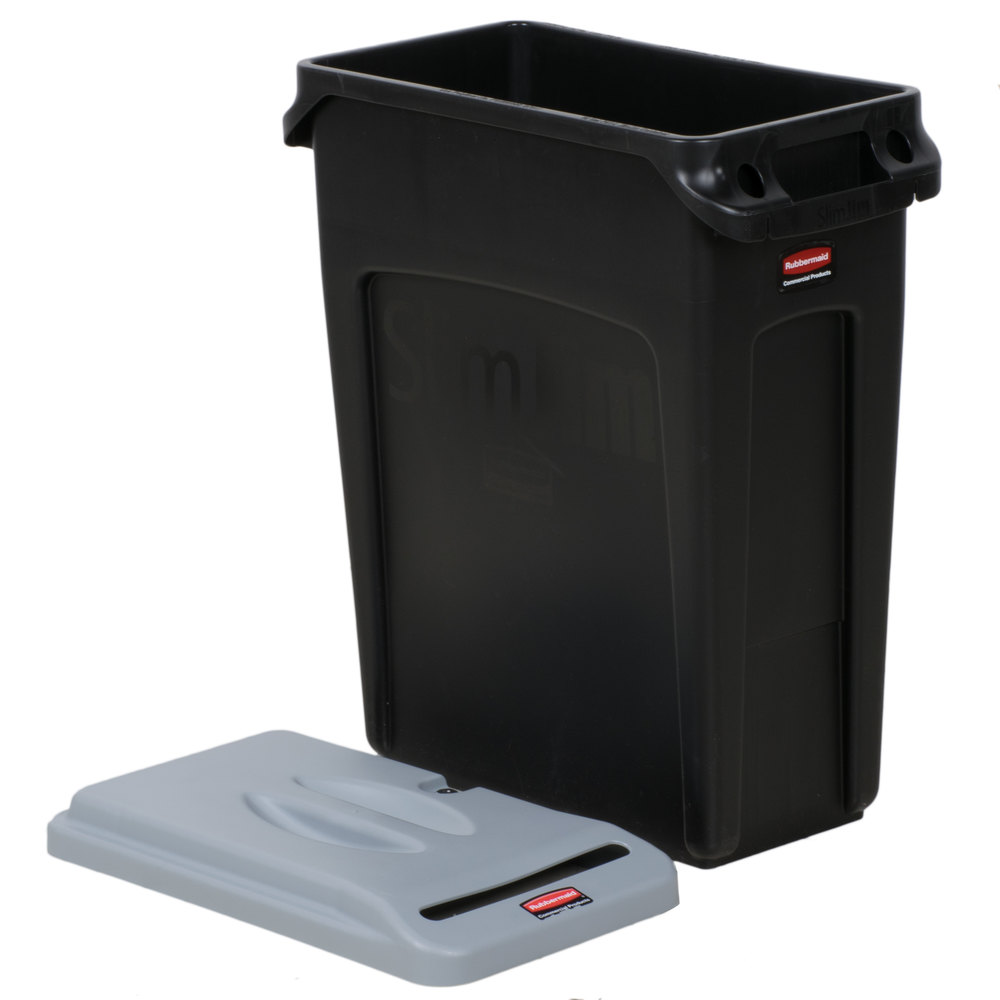 Wall Hugger Lamps : Rubbermaid Slim Jim 16 Gallon Black Wall Hugger Trash Can with Light Gray Confidential Document Lid