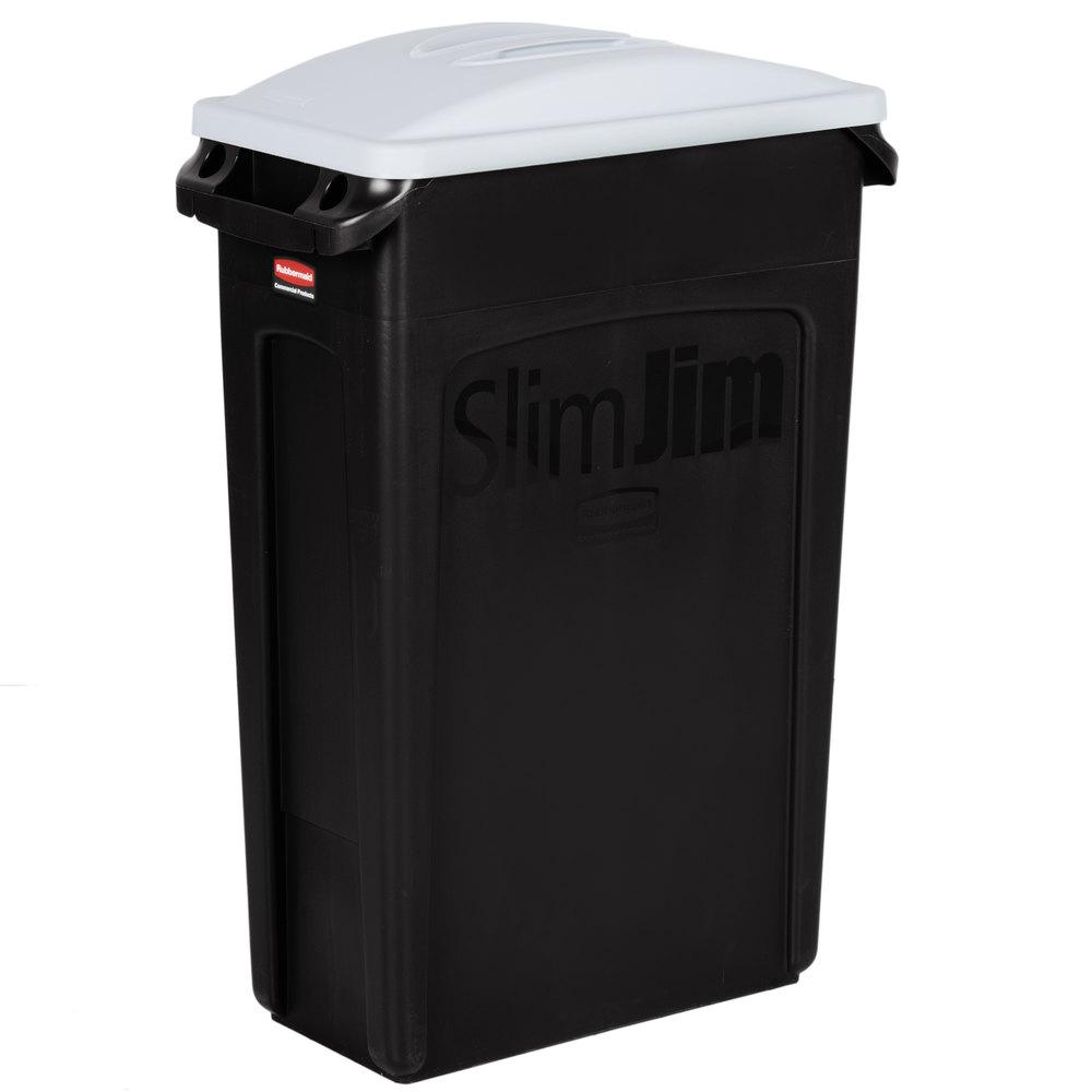 rubbermaid slim jim 23 gallon black trash can with light gray handled lid. Black Bedroom Furniture Sets. Home Design Ideas