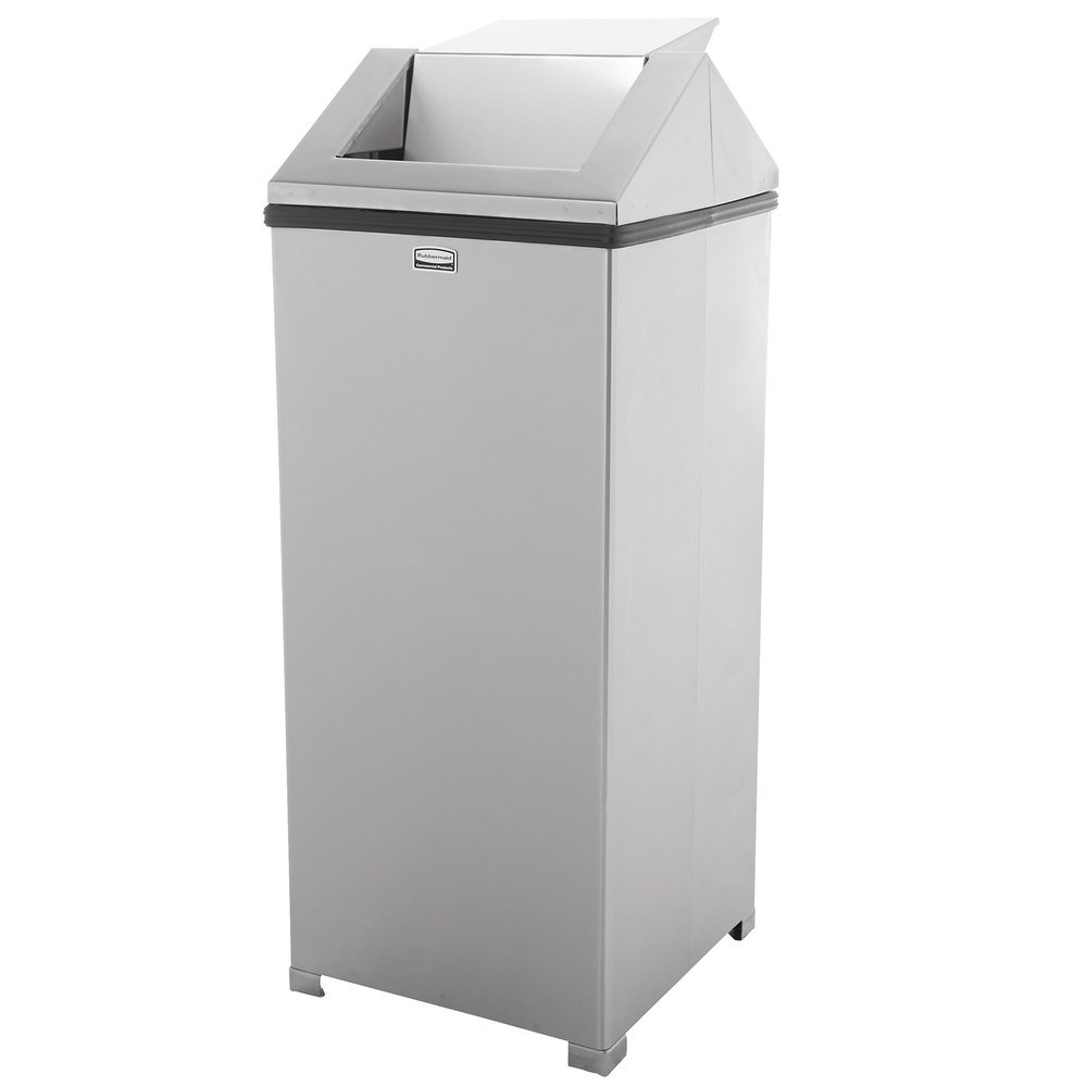 rubbermaid fgt1424sspl wastemaster stainless steel swing top 16 gallon trash can. Black Bedroom Furniture Sets. Home Design Ideas