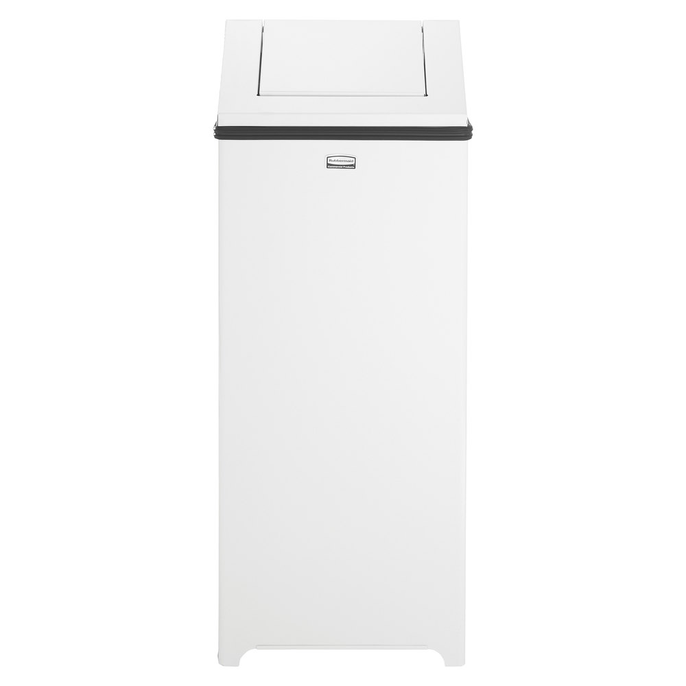 rubbermaid fgteplwh wastemaster white stainless steel swing  -  swing top  gallon trash can main picture