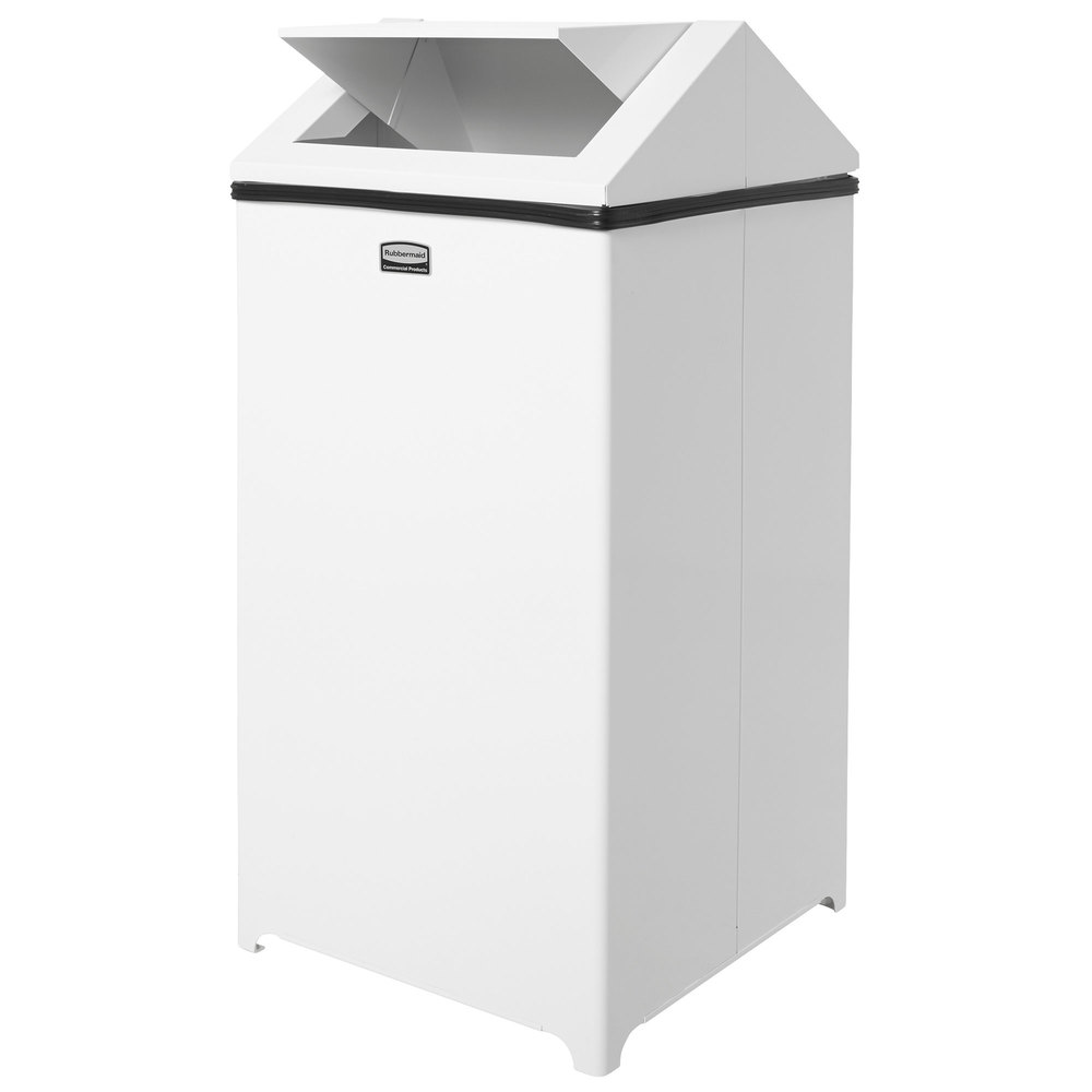 rubbermaid fgt1940erbwh wastemaster white stainless steel swing top 40 gallon trash can. Black Bedroom Furniture Sets. Home Design Ideas