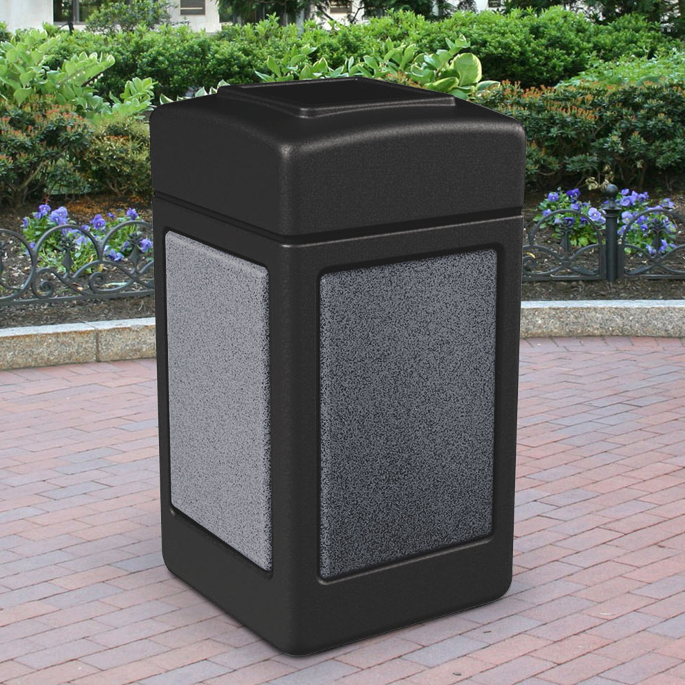 Commercial zone 720313 stonetec 42 gallon black trash for Pepperstone