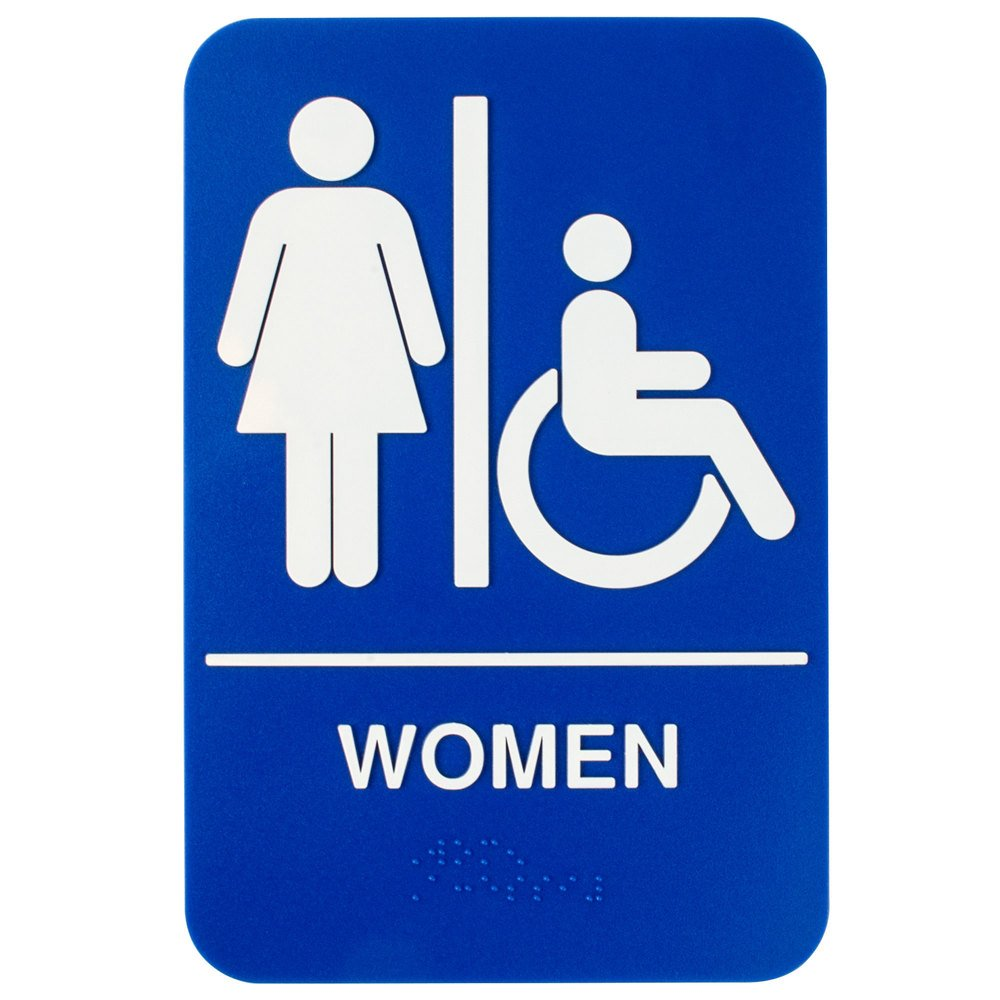 Attractive ADA Womenu0027s Restroom Sign With Braille   Blue And White, 9 Inch X 6 Inch ...