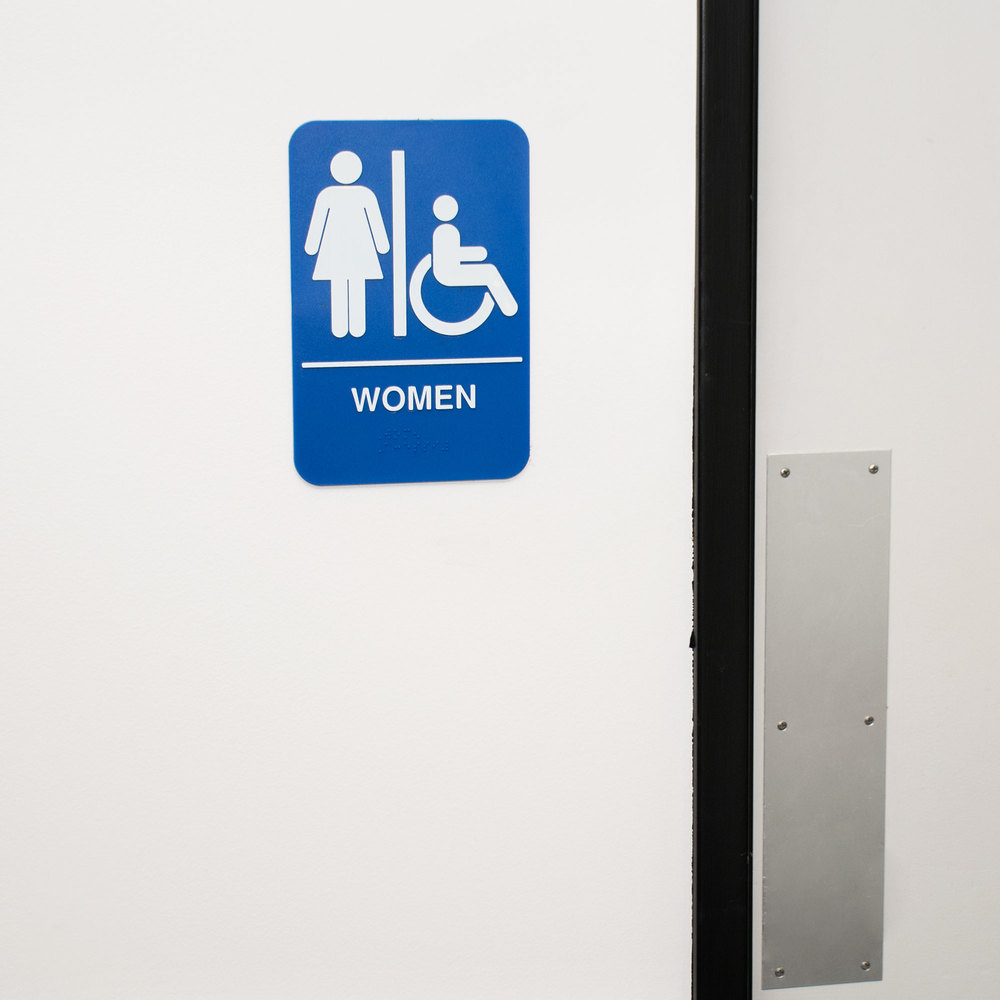 "Bathroom Signs Braille ada women's restroom sign with braille - blue and white, 9"" x 6"""