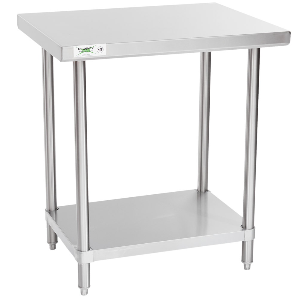 Regency Spec Line 24 inch x 30 inch 14 Gauge Stainless Steel Commercial Work Table with Undershelf