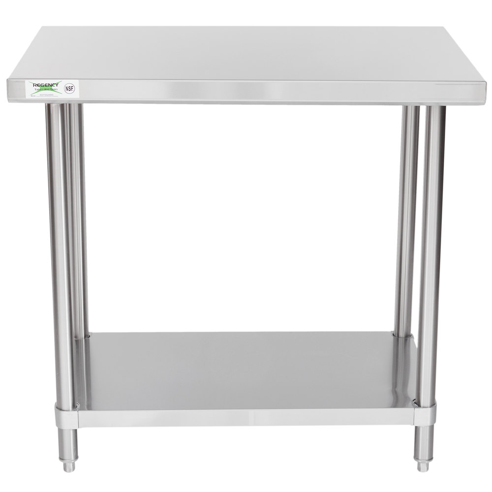 Regency Spec Line 24 inch x 36 inch 14 Gauge Stainless Steel Commercial Work Table with Undershelf