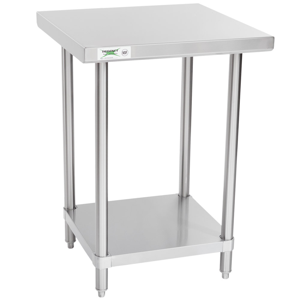 Regency Spec Line 24 inch x 24 inch 14 Gauge Stainless Steel Commercial Work Table with Undershelf