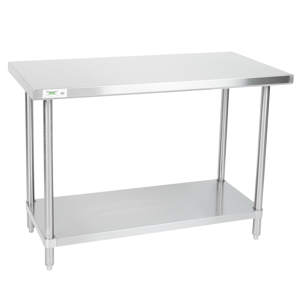 Regency Spec Line 24 inch x 48 inch 14 Gauge Stainless Steel Commercial Work Table with Undershelf