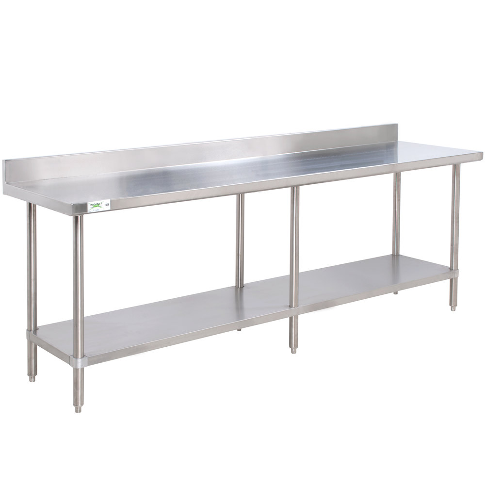 Regency Spec Line 24 inch x 96 inch 14 Gauge Stainless Steel Commercial Work Table with 4 inch Backsplash and Undershelf