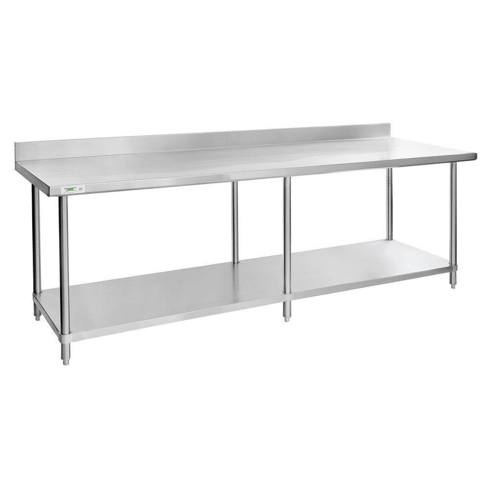 Regency Spec Line 30 inch x 96 inch 14 Gauge Stainless Steel Commercial Work Table with 4 inch Backsplash and Undershelf