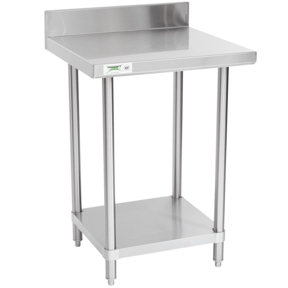 Regency Spec Line 24 inch x 24 inch 14 Gauge Stainless Steel Commercial Work Table with 4 inch Backsplash and Undershelf