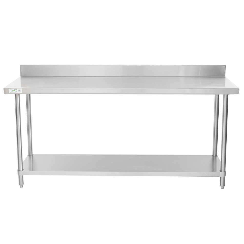 Regency Spec Line 24 inch x 72 inch 14 Gauge Stainless Steel Commercial Work Table with 4 inch Backsplash and Undershelf