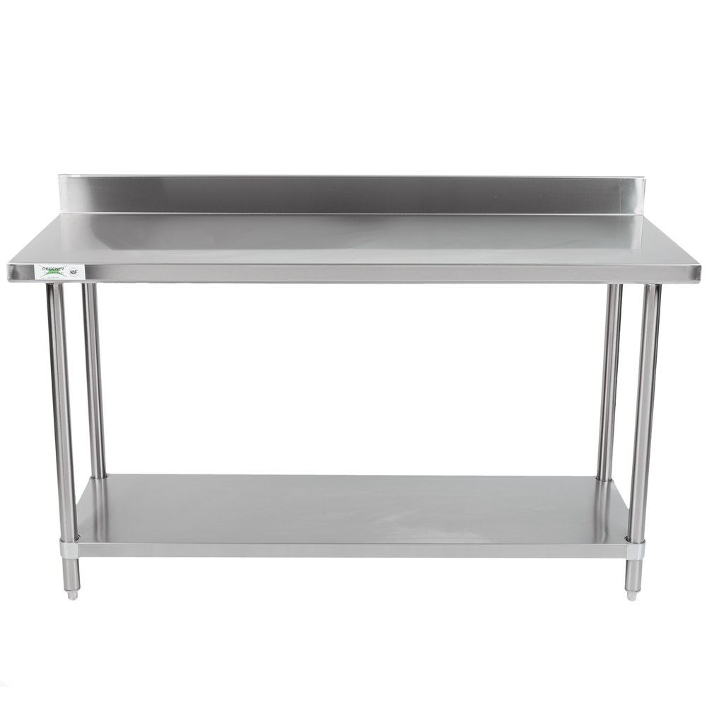 Regency Spec Line 24 inch x 60 inch 14 Gauge Stainless Steel Commercial Work Table with 4 inch Backsplash and Undershelf