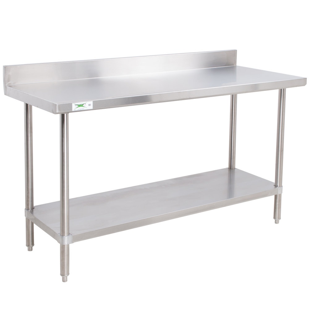 Regency Spec Line 24 inch x 48 inch 14 Gauge Stainless Steel Commercial Work Table with 4 inch Backsplash and Undershelf