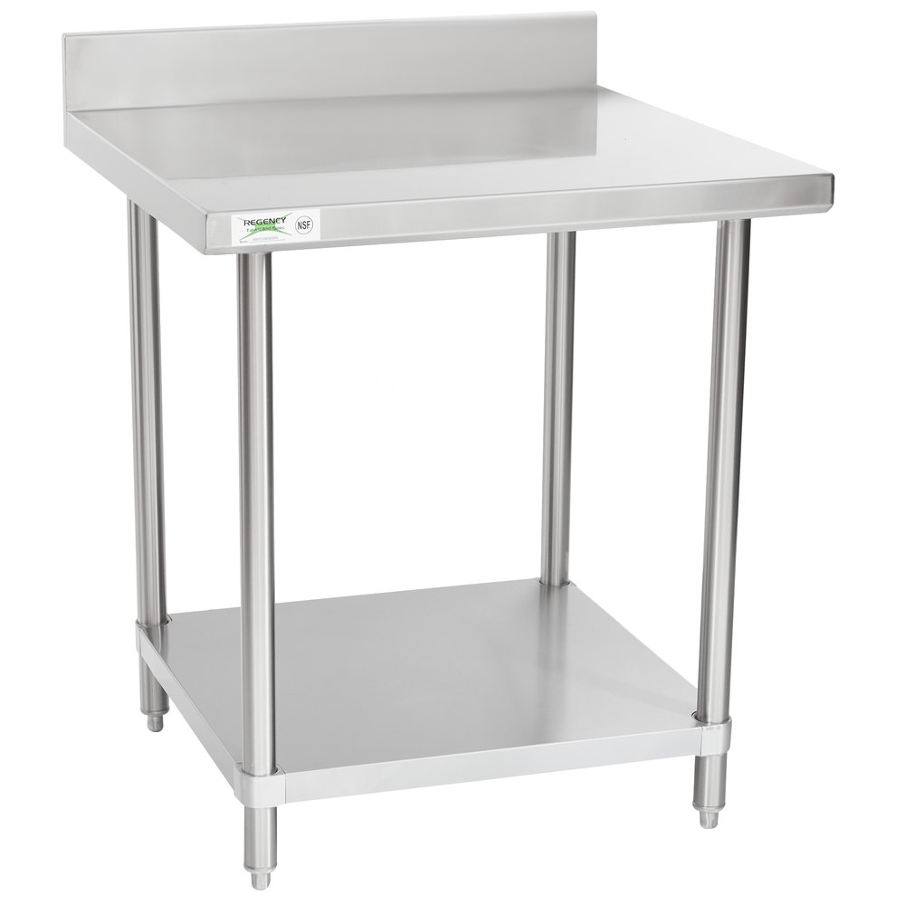 Regency Spec Line 30 inch x 30 inch 14 Gauge Stainless Steel Commercial Work Table with 4 inch Backsplash and Undershelf