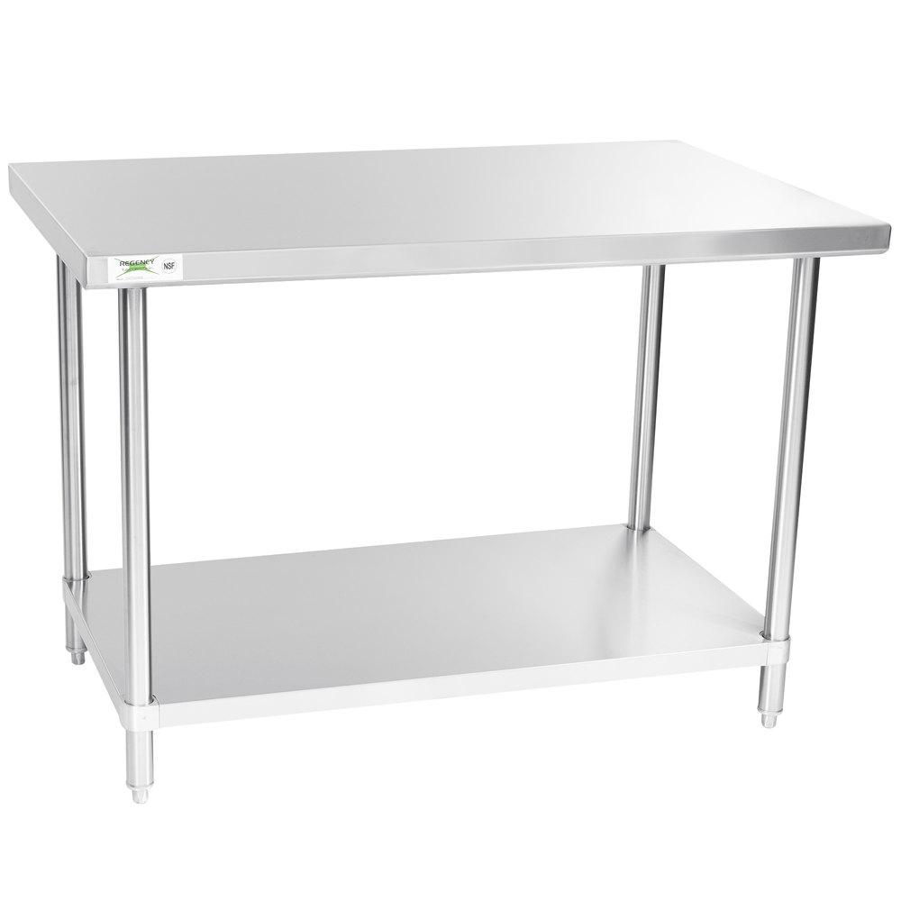 Regency Spec Line 30 inch x 48 inch 14 Gauge Stainless Steel Commercial Work Table with Undershelf