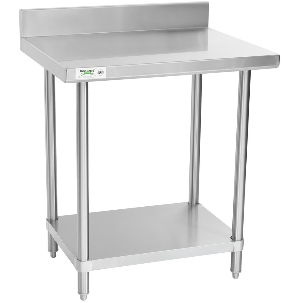 Regency Spec Line 24 inch x 30 inch 14 Gauge Stainless Steel Commercial Work Table with 4 inch Backsplash and Undershelf