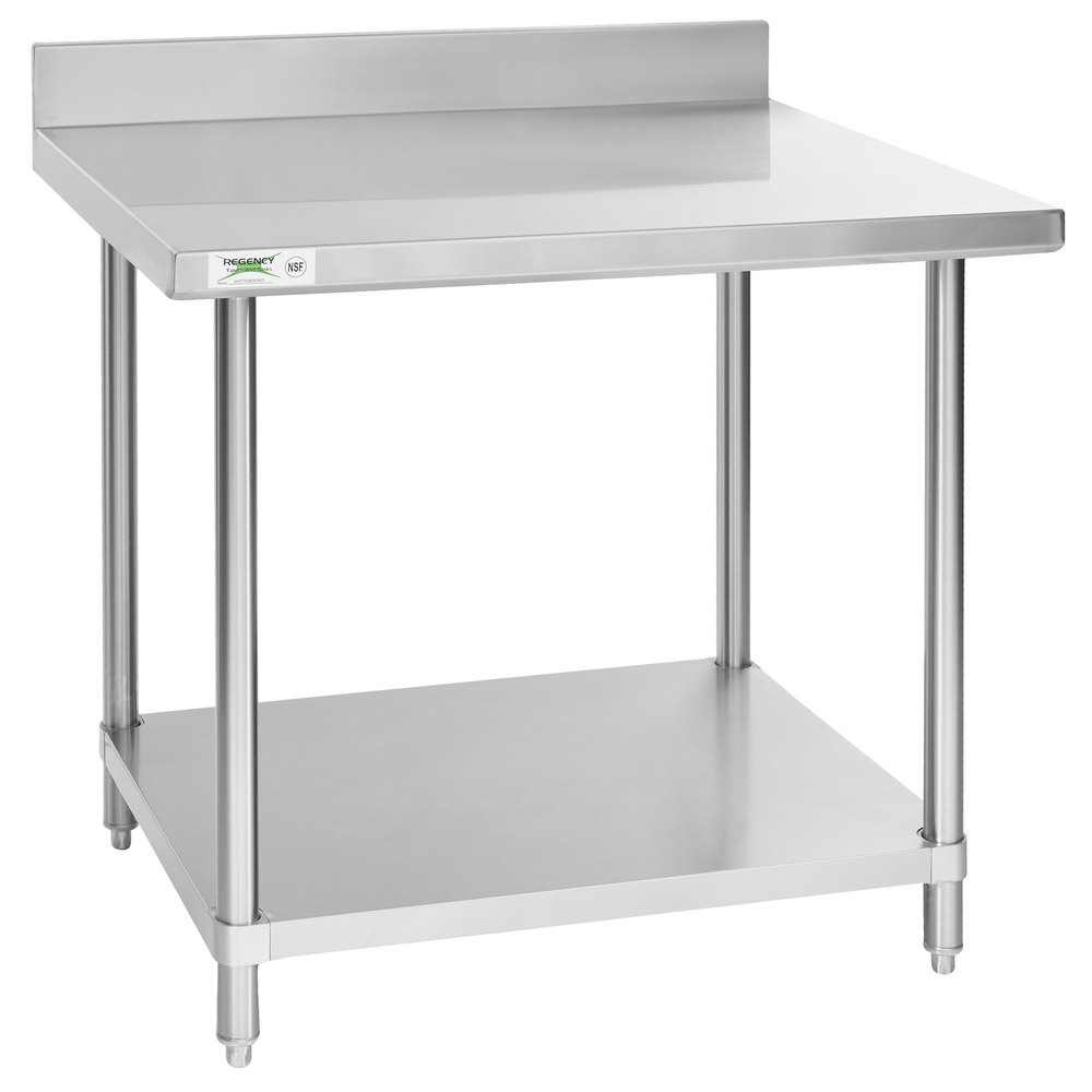 Regency Spec Line 30 inch x 36 inch 14 Gauge Stainless Steel Commercial Work Table with 4 inch Backsplash and Undershelf