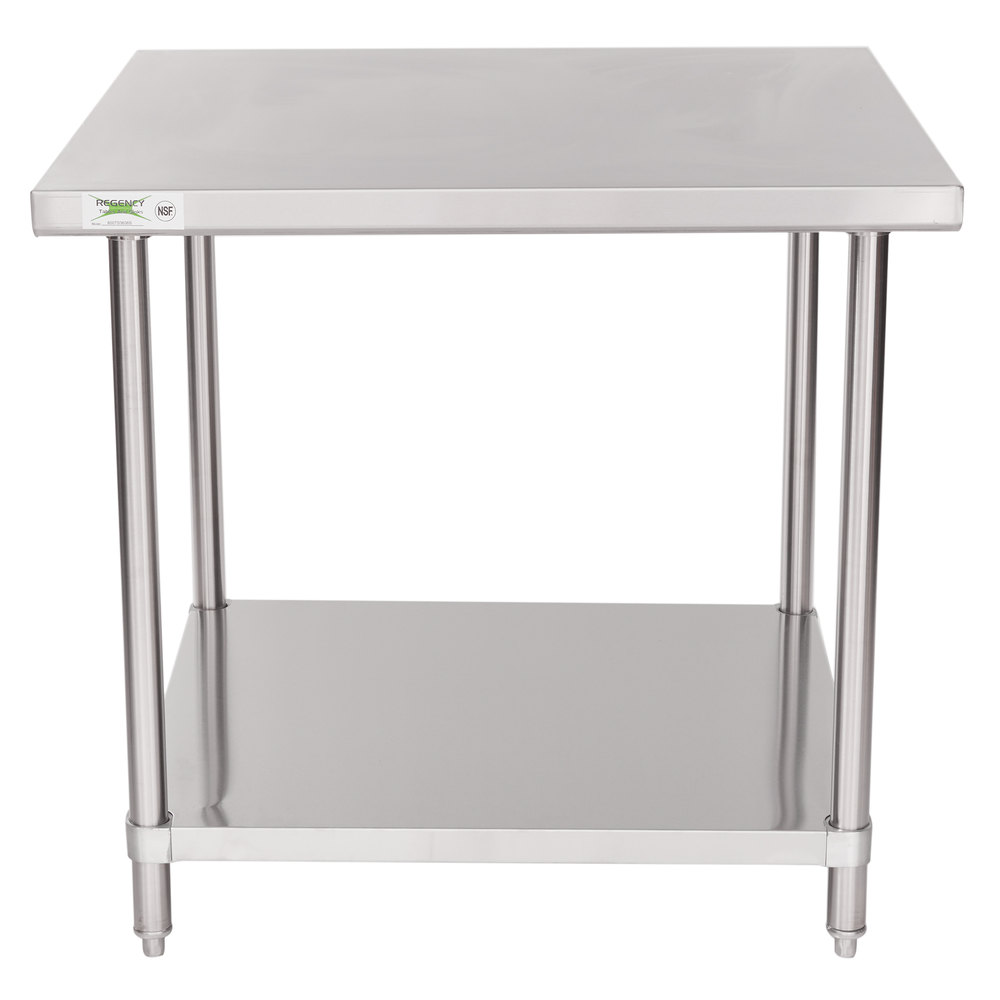 Regency 36 inch x 36 inch 16 Gauge Stainless Steel Commercial Work Table with Undershelf