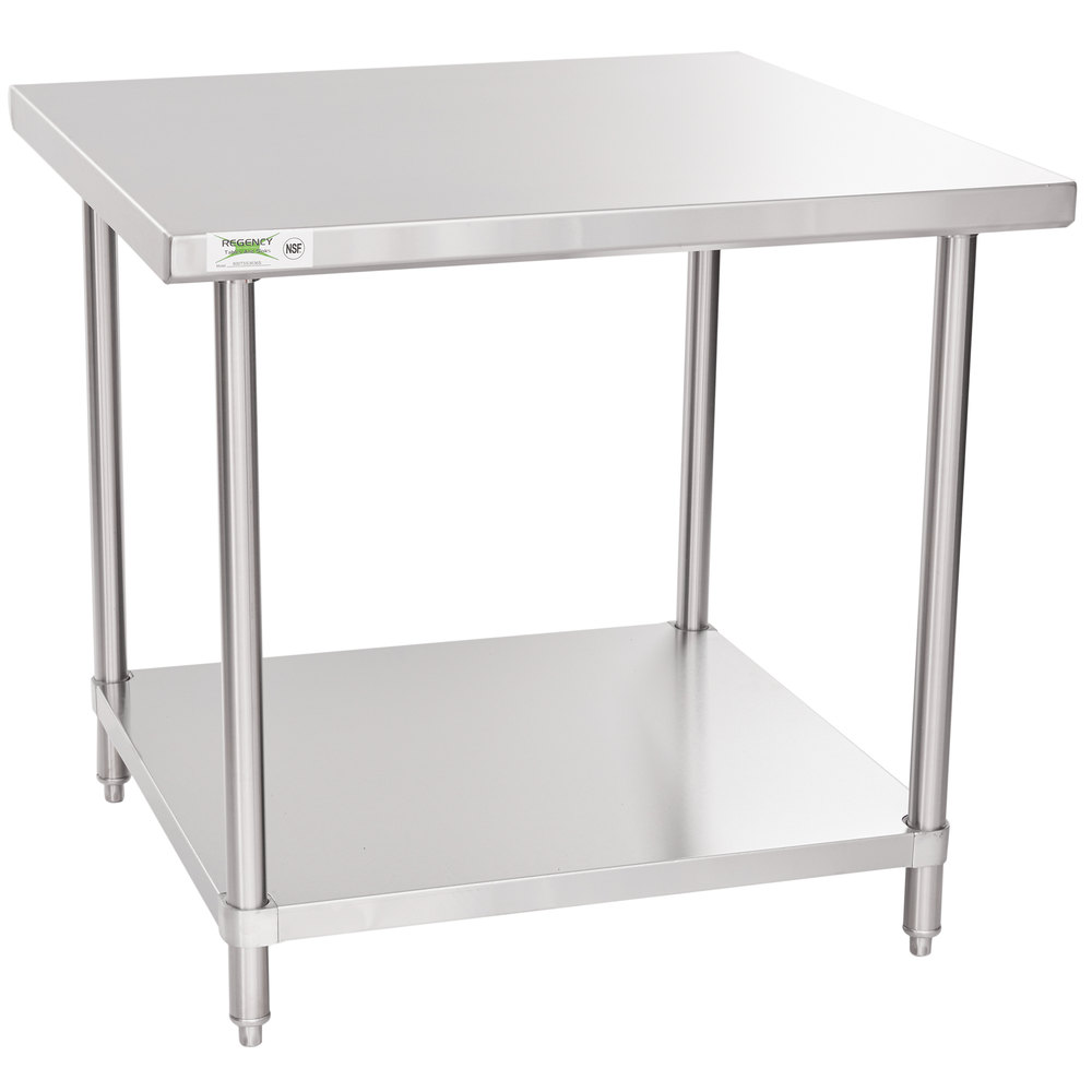 Regency Spec Line 36 inch x 36 inch 14 Gauge Stainless Steel Commercial Work Table with Undershelf