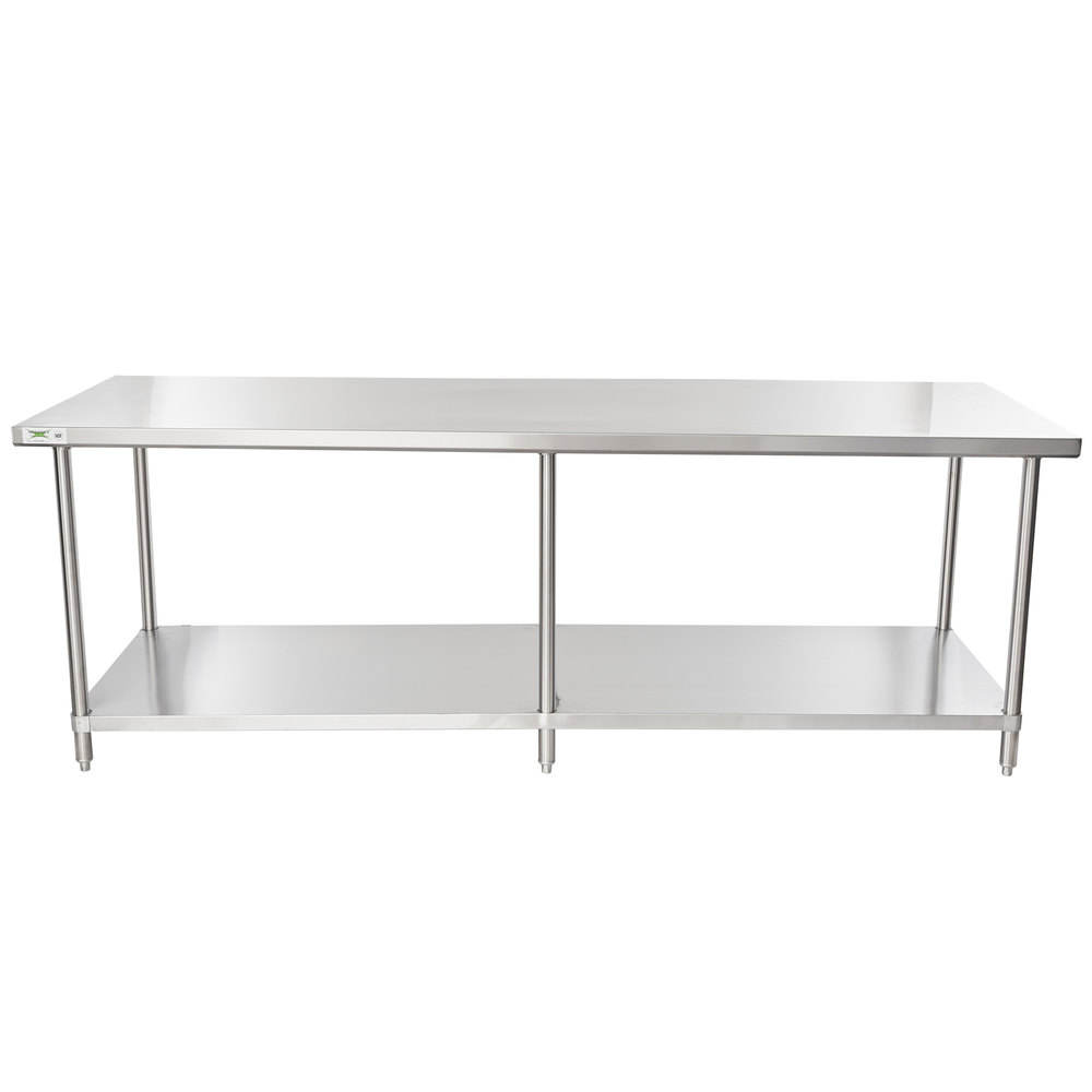 Regency 36 inch x 96 inch 16 Gauge Stainless Steel Commercial Work Table with Undershelf