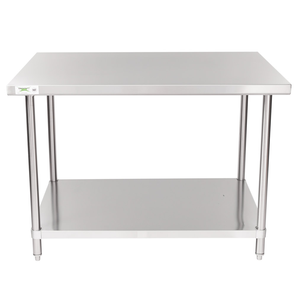 Regency Spec Line 36 inch x 48 inch 14 Gauge Stainless Steel Commercial Work Table with Undershelf