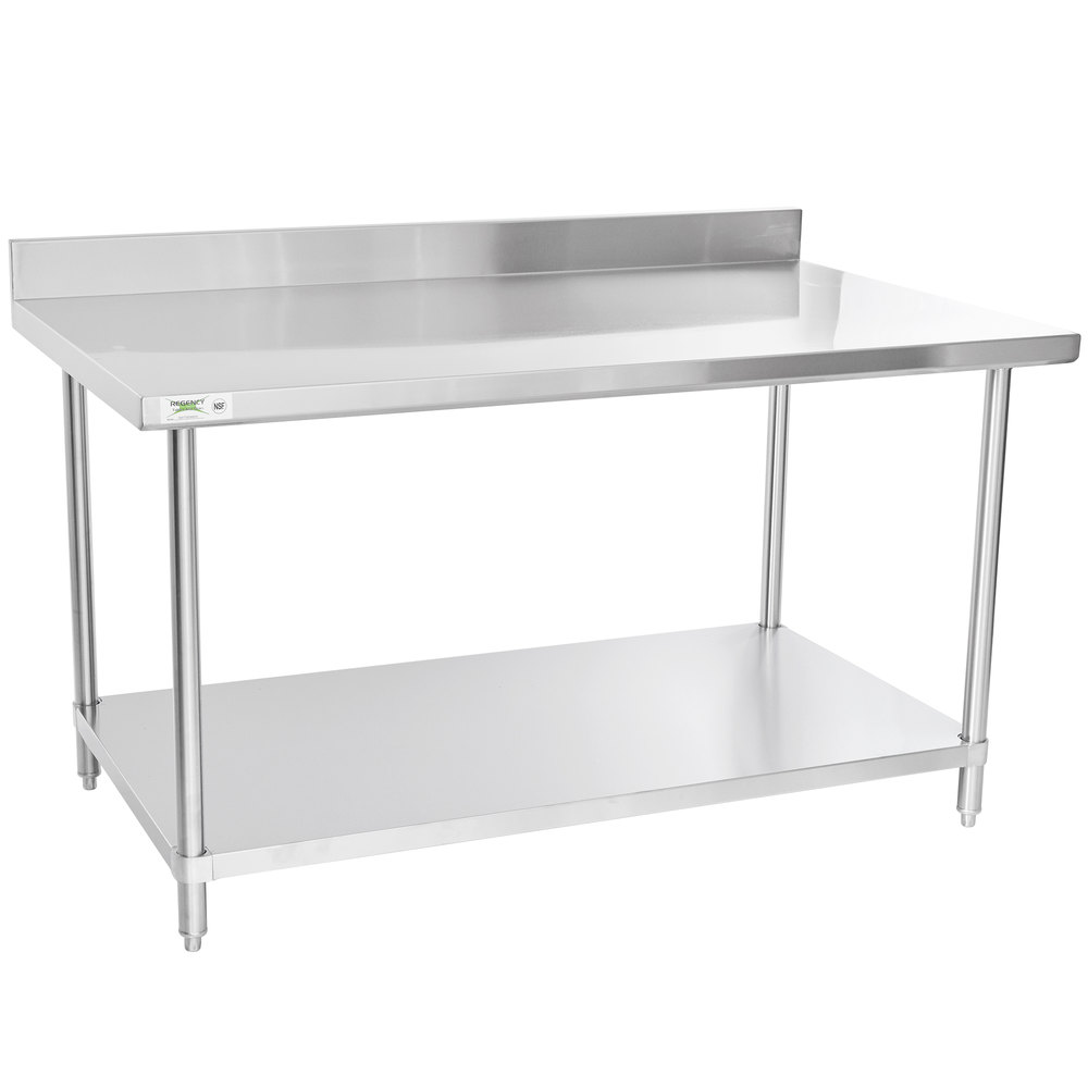 Regency 36 inch x 60 inch 16 Gauge Stainless Steel Commercial Work Table with 4 inch Backsplash and Undershelf