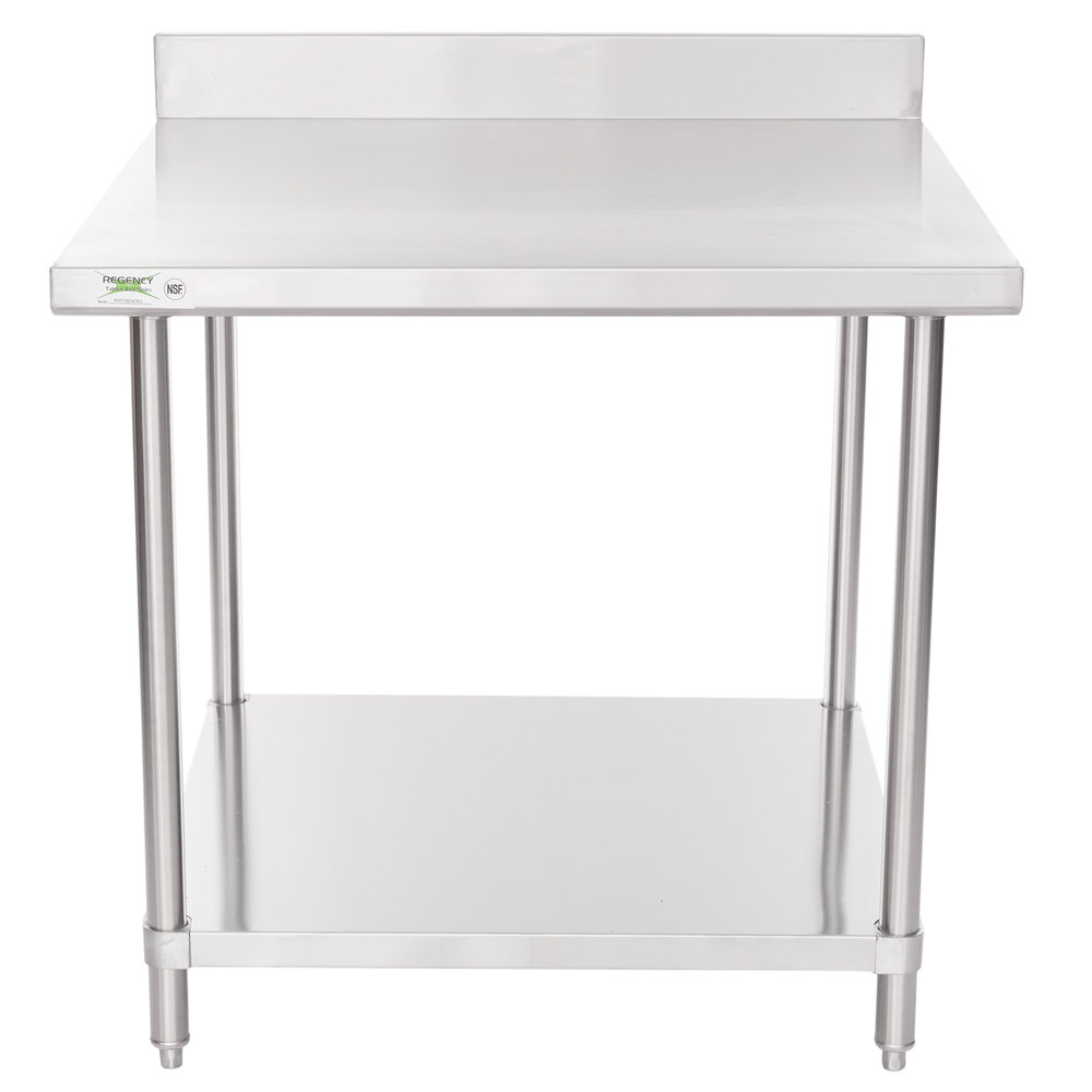Regency 36 inch x 36 inch 16 Gauge Stainless Steel Commercial Work Table with 4 inch Backsplash and Undershelf