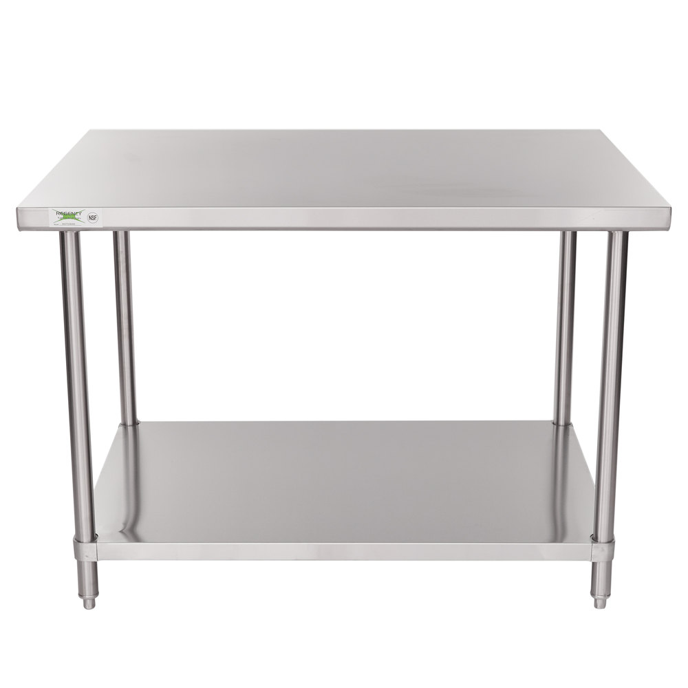 Regency 36 inch x 48 inch 16 Gauge Stainless Steel Commercial Work Table with Undershelf