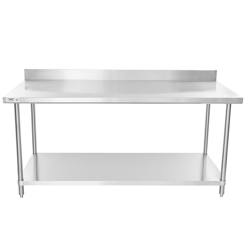 Regency 36 inch x 72 inch 16 Gauge Stainless Steel Commercial Work Table with 4 inch Backsplash and Undershelf