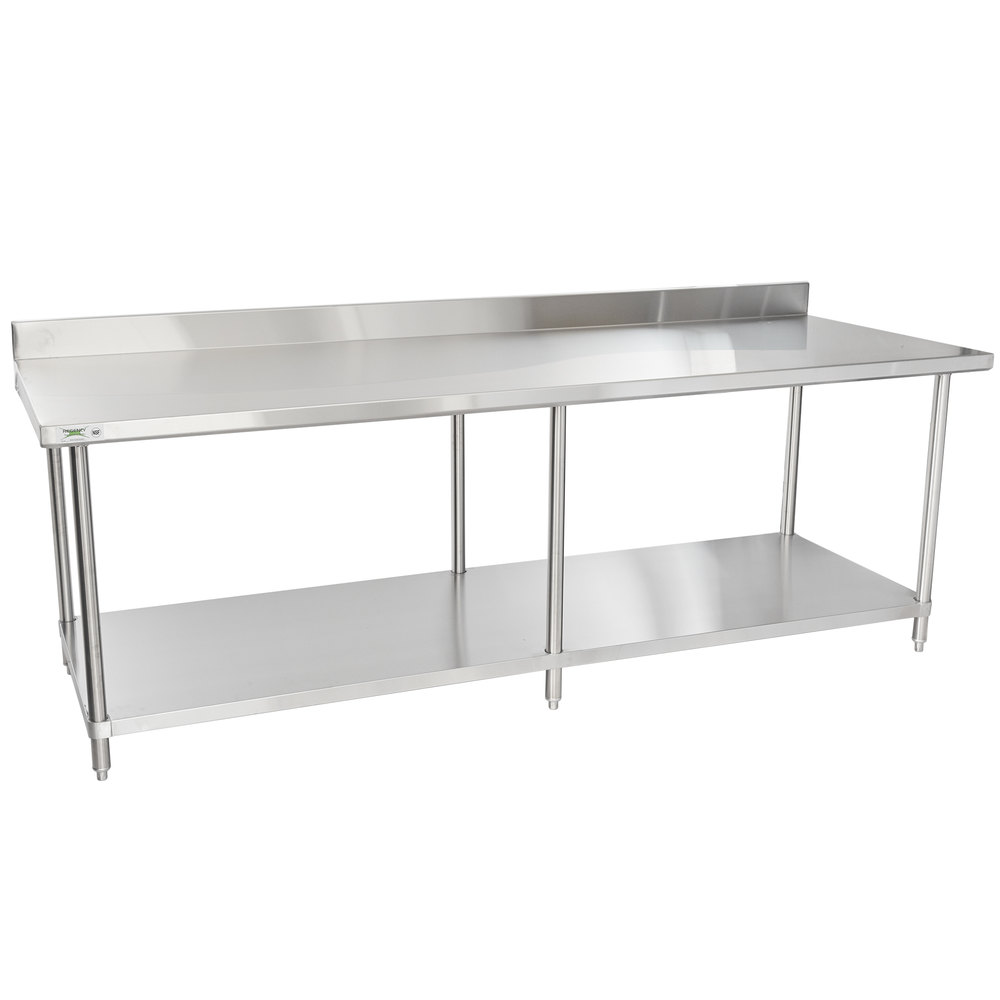 Regency Spec Line 36 inch x 96 inch 14 Gauge Stainless Steel Commercial Work Table with 4 inch Backsplash and Undershelf