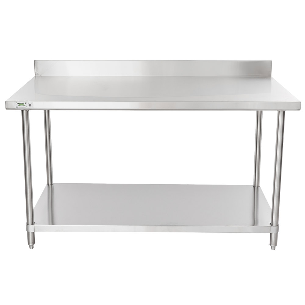 Regency Spec Line 36 inch x 60 inch 14 Gauge Stainless Steel Commercial Work Table with 4 inch Backsplash and Undershelf