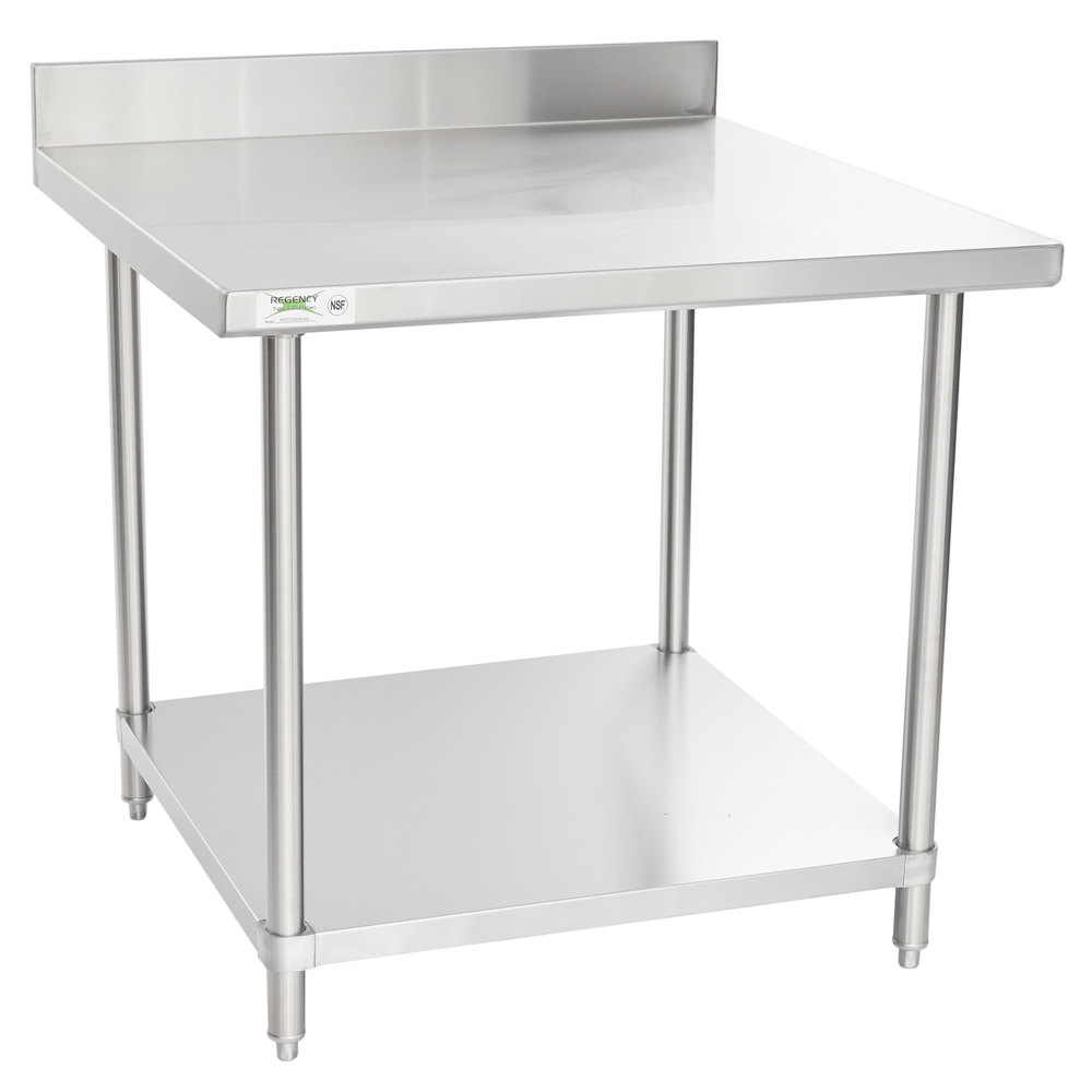 Regency Spec Line 36 inch x 36 inch 14 Gauge Stainless Steel Commercial Work Table with 4 inch Backsplash and Undershelf