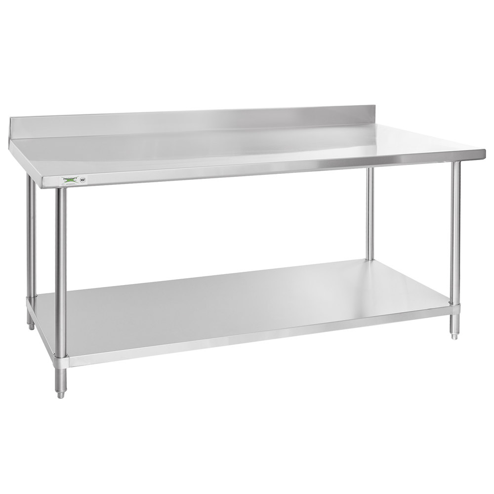 Regency Spec Line 36 inch x 72 inch 14 Gauge Stainless Steel Commercial Work Table with 4 inch Backsplash and Undershelf