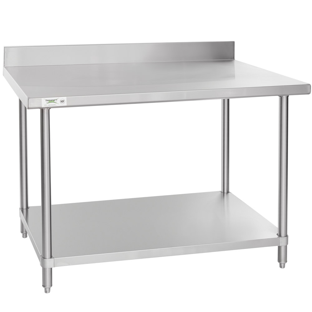 Regency Spec Line 36 inch x 48 inch 14 Gauge Stainless Steel Commercial Work Table with 4 inch Backsplash and Undershelf